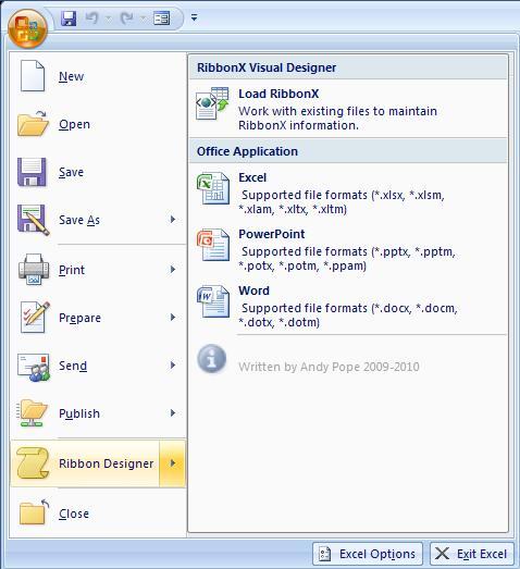 RibbonX menu Office Designer